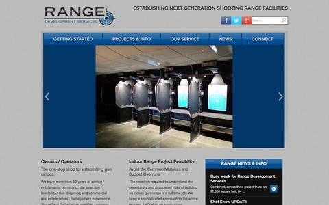 Screenshot of Home Page rangedevelopmentservices.com - Shooting Range Construction, Indoor Shooting Range, Range Development Services - captured Feb. 13, 2016