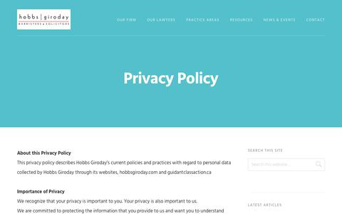 Screenshot of Privacy Page hobbsgiroday.com - Privacy Policy | Hobbs Giroday - captured July 20, 2018