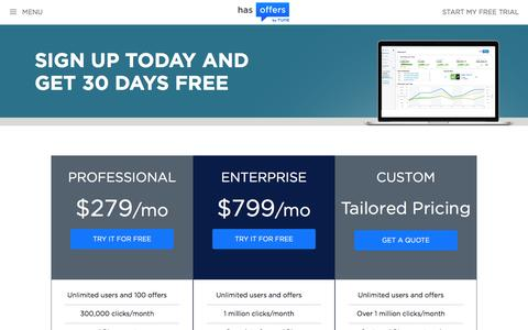 Screenshot of Signup Page Pricing Page hasoffers.com - HasOffers | Pricing, Features, and Free Trial - captured April 22, 2017