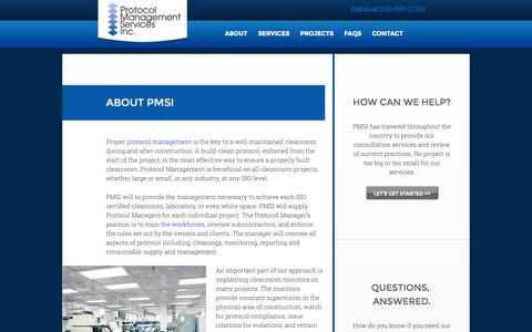 Screenshot of About Page protocolmanagementservices.com - Protocol Management Services | About Our Cleanroom Protocol Management - captured Oct. 3, 2014