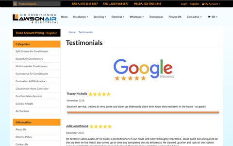 Screenshot of Testimonials Page lawsonair.com.au - Testimonials - captured Dec. 7, 2018