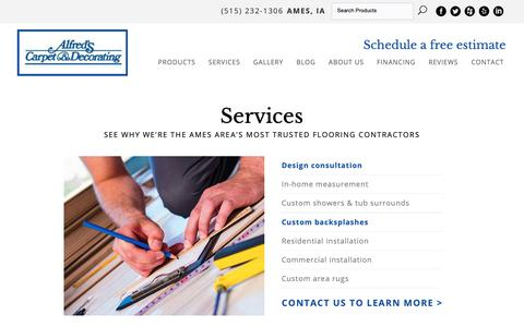 Screenshot of Services Page alfredscarpet.com - Flooring Contractor in Ames, IA at Alfred's Carpet & Decorating - captured Oct. 3, 2018