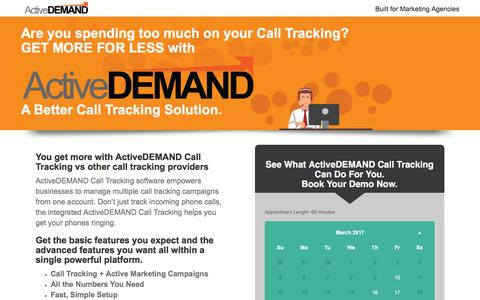 Screenshot of Landing Page activedemand.com - ActiveDEMAND: A Better Call Tracking Solution - captured March 10, 2017