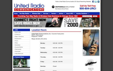 Screenshot of Hours Page urci.com - Motorola Two Way Radio Dealer Vertex Standard Radio Dealer Chicago United Radio Communications, Inc. - captured Oct. 27, 2014
