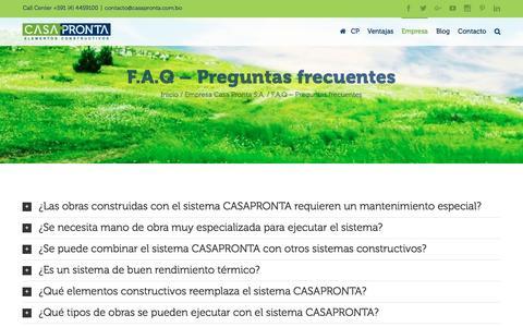 Screenshot of FAQ Page casapronta.com.bo - F.A.Q - Preguntas frecuentes   Casa Pronta S.A. - captured July 9, 2016