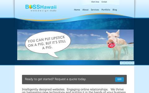 Screenshot of Home Page bosshi.com - Hawaii Web Design Studio | BOSS Hawaii | Hawaii Social Media | Kailua, Hawaii - captured Oct. 4, 2014