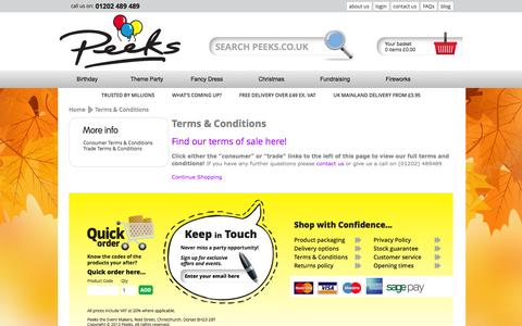 Screenshot of Terms Page peeks.co.uk - Terms & Conditions - captured Sept. 29, 2014