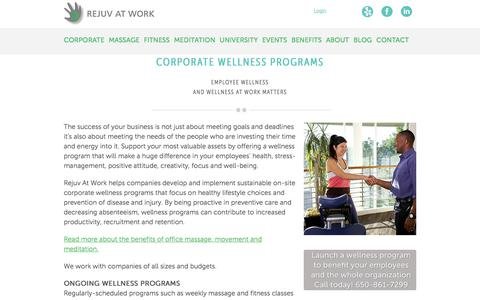 Screenshot of Pricing Page rejuvatwork.com - Corporate Health and Wellness | Rejuv At Work - captured Sept. 20, 2018