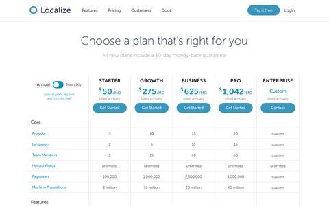 Screenshot of Pricing Page localizejs.com - Localize - Application translation platform - captured Oct. 22, 2019