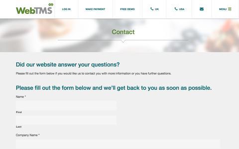 Screenshot of Contact Page webtms.com - Contact - Web TMS - captured Sept. 20, 2019