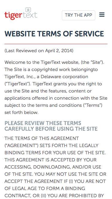 TigerText Terms of Use | TigerText
