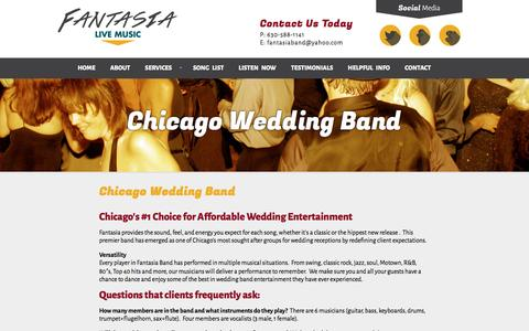 Screenshot of Services Page fantasiabandchicago.com - Chicago Wedding Band - Affordable Wedding Band - captured April 16, 2016