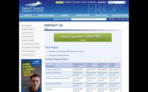 Screenshot of Contact Page frontrange.edu - Campus Addresses, Department Phone Numbers, Email - FRCC - captured Sept. 19, 2014