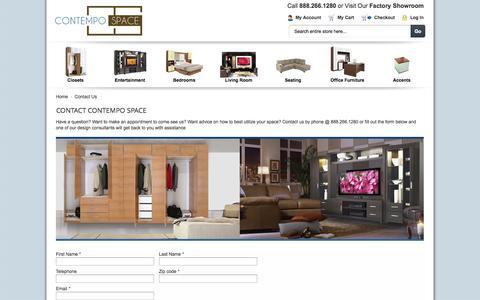 Screenshot of Contact Page contempospace.com - Contact Us - captured Sept. 19, 2014