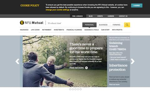 Screenshot of Home Page nfumutual.co.uk - NFU Mutual: Business, Personal & Farming Financial Services - captured Sept. 18, 2014