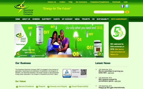 Screenshot of Home Page sec.co.sz - Swaziland Electricty Company - captured Oct. 6, 2014