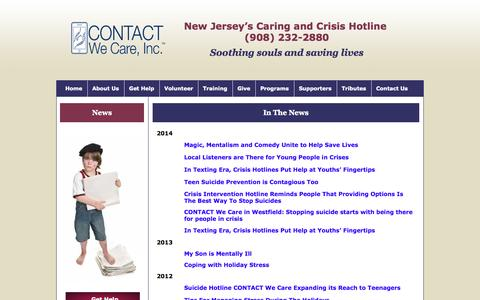 Screenshot of Press Page contactwecare.org - CONTACT We Care Publications - captured Oct. 3, 2014