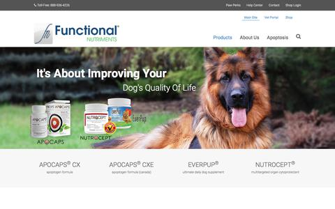 Screenshot of Products Page functionalnutriments.com - Products - Functional Nutriments - captured Sept. 4, 2018