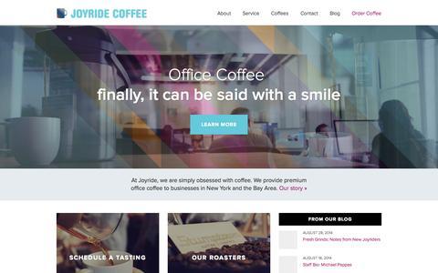 Screenshot of Home Page joyridecoffeedistributors.com - New York and San Francisco Specialty Office Coffee |Joyride Coffee - captured Sept. 23, 2014