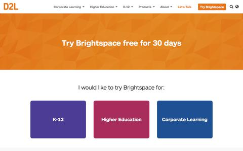 Screenshot of Trial Page d2l.com - Brightspace LMS Free Trial | D2L - captured Oct. 9, 2017