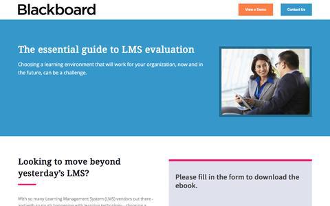 Screenshot of Landing Page blackboard.com - The Essential Guide to LMS Evaluation - captured Jan. 23, 2018