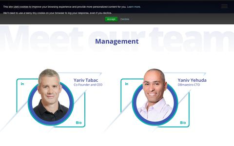 Screenshot of Team Page dbmaestro.com - Leadership | DBmaestro - captured July 3, 2018