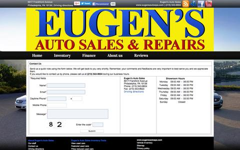 Screenshot of About Page Contact Page eugensautospa.com - Contact us   Eugen's Auto Sales 8917 Frankford Avenue Philadelphia Pennsylvania 19136   (215) 543-9604 - captured June 17, 2016