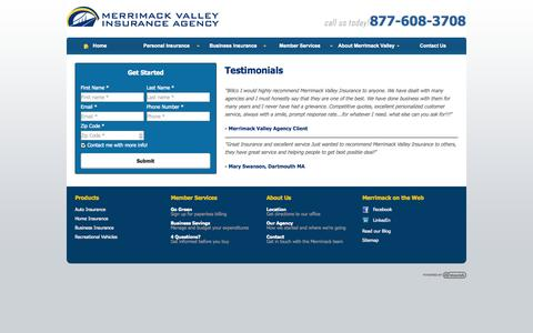 Screenshot of Testimonials Page mvins.com - Testimonials | Merrimack Valley Insurance Agency of Billerica Massachusetts - captured Oct. 27, 2014