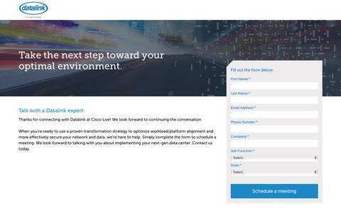 Screenshot of Landing Page datalink.com - Datalink at Cisco Live - captured April 21, 2018