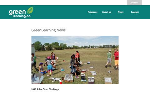 Screenshot of Press Page greenlearning.ca - News - Green Learning - captured Sept. 26, 2016