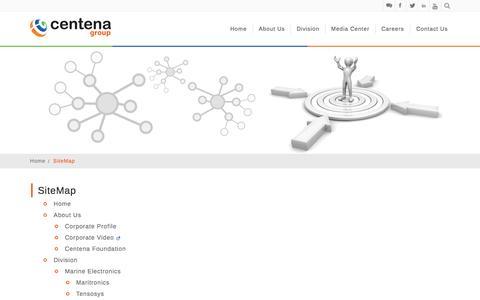 Screenshot of Site Map Page centena.biz captured Sept. 19, 2014