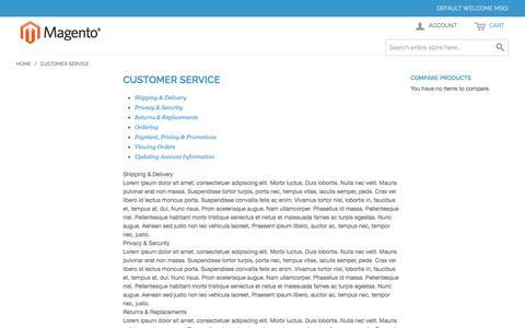 Screenshot of Support Page k9legends.com - Customer Service - captured Oct. 29, 2014