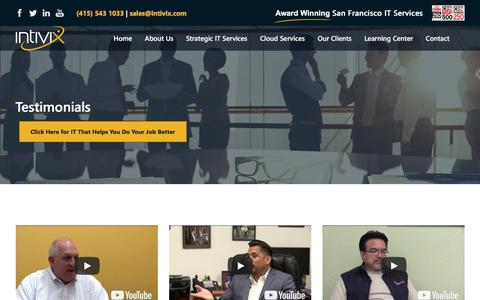 Screenshot of Testimonials Page intivix.com - Testimonials  Intivix: IT Support & IT Services   San Francisco Bay Area - captured July 13, 2018