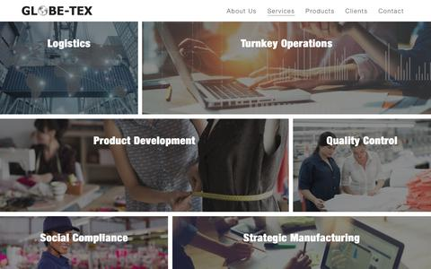 Screenshot of Services Page globe-tex.com - GLOBE-TEX: Services | Private Label Apparel - captured July 20, 2018