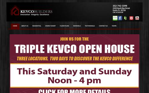 Screenshot of Home Page kevcobuilders.com - Custom Home Builders   Residential Construction   Renovations   Additions   Commercial Construction   Lake County   Florida   Leesburg   Eustis   The Villages   Kevco Builders Home - captured May 19, 2019