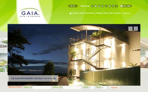 Screenshot of About Page gaiahr.com - About Us - Gaia 5 Star Boutique Hotel and Reserve - captured Sept. 19, 2014