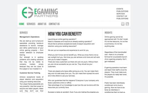 Screenshot of Home Page egamingpartners.com - Online gaming consultants: management, operations, customer service training - captured Oct. 1, 2014