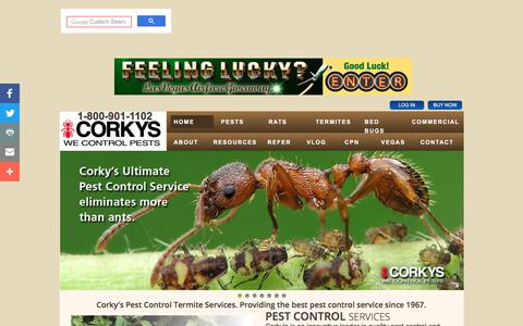 Screenshot of Home Page corkyspest.com - Corky's Pest Control Services & Termite Services in San Diego, Los Angeles Pest Control & Riverside Pest Control - captured July 29, 2017