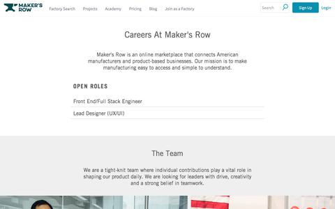 Screenshot of Jobs Page makersrow.com - Careers | Maker's Row - Manufacturing, Sourcing, Production Education - captured Sept. 10, 2017