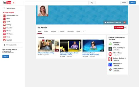 Screenshot of YouTube Page youtube.com - Jo Austin  - YouTube - captured Oct. 23, 2014