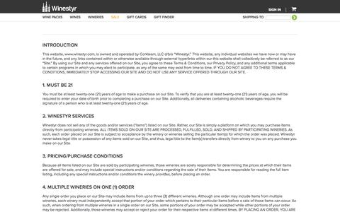 Screenshot of Terms Page winestyr.com - Winestyr | Buy Wine Online | Wine Gift | Wine Guide - captured Sept. 17, 2014
