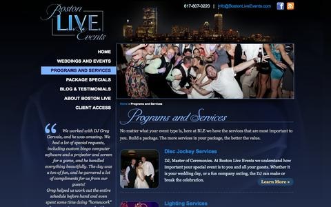 Screenshot of Services Page bostonliveevents.com - Programs And Services | Wedding Disc Jockey | Disc Jockey Service - captured Oct. 27, 2014
