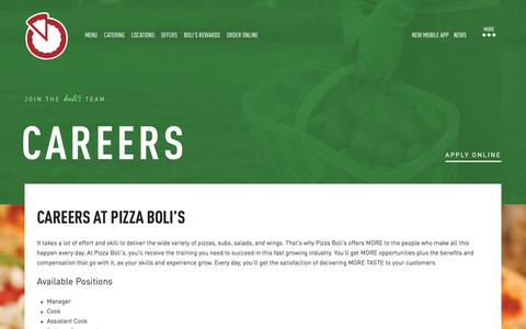 Screenshot of Jobs Page pizzabolis.com - Careers | Pizza Restaurants, Catering Services - captured July 19, 2018