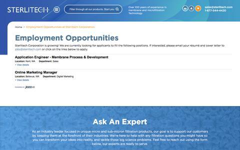 Screenshot of Jobs Page sterlitech.com - Employment Opportunities at Sterlitech Corporation - captured Feb. 26, 2020