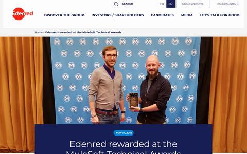 Screenshot of Press Page edenred.com - Edenred rewarded at the MuleSoft Technical Awards   Edenred - captured July 8, 2019