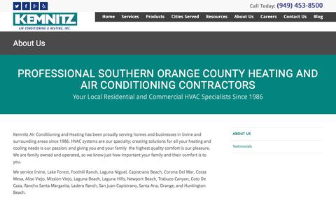 Screenshot of About Page kemnitzhvac.com - Orange County Heating and Air Conditioning Services - captured July 7, 2017