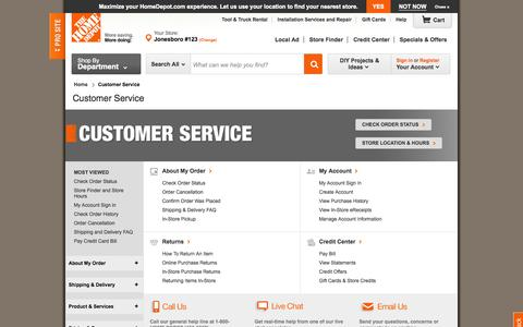 Screenshot of Support Page homedepot.com - Help & Customer Service Center at The Home Depot - captured Oct. 29, 2014