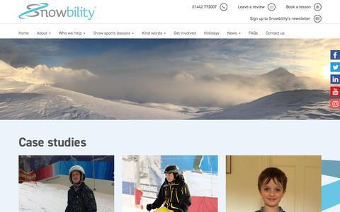 Screenshot of Case Studies Page snowbility.co.uk - Case Studies Archive | Snowbility - captured Sept. 20, 2018