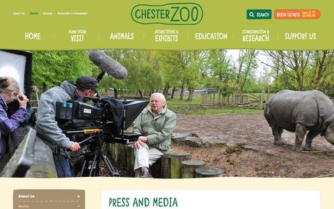 Screenshot of Press Page chesterzoo.org - Press & Media | Animal News | Chester Zoo UK - captured Sept. 19, 2014