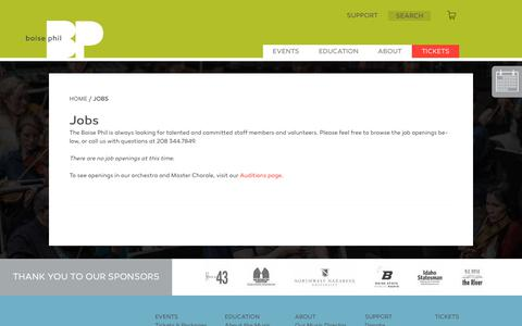 Screenshot of Jobs Page boisephil.org - Jobs - Boise Phil - captured Nov. 1, 2018